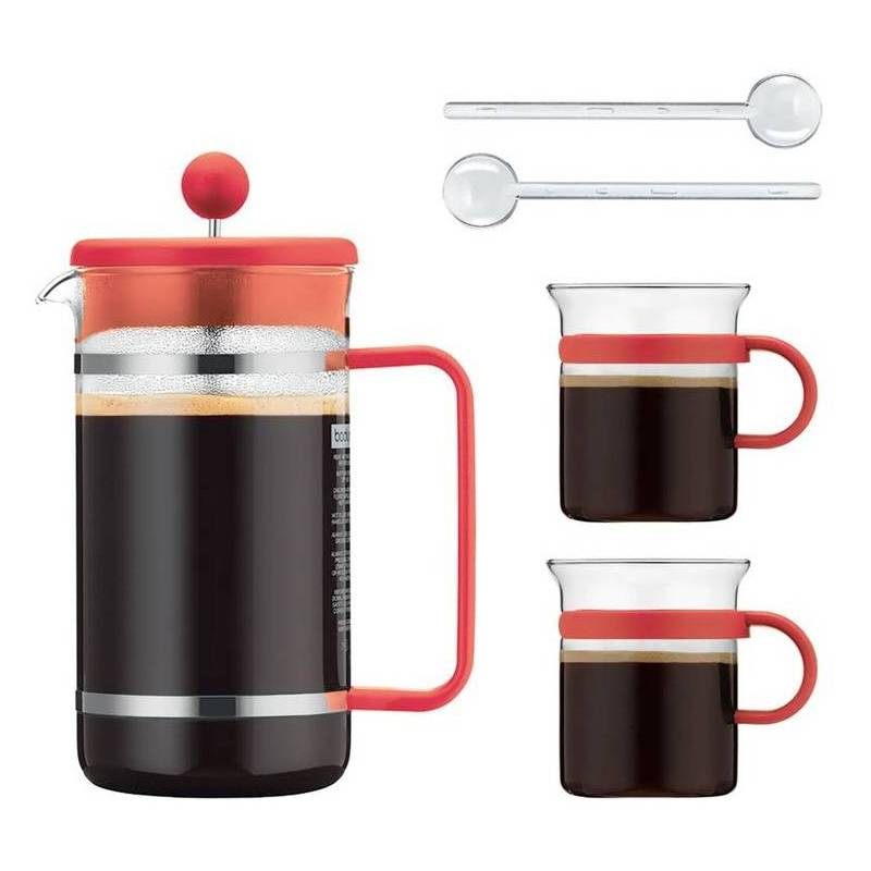 cafeti re piston 1l bodum 2 tasses 20cl et 2 agitateurs. Black Bedroom Furniture Sets. Home Design Ideas